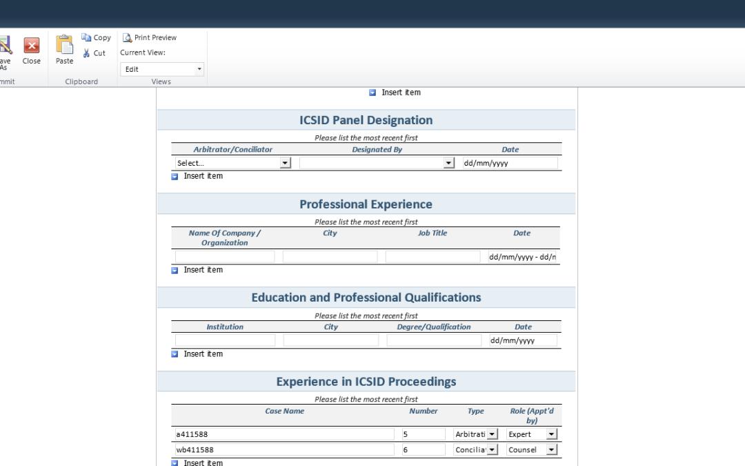 ICSID CV